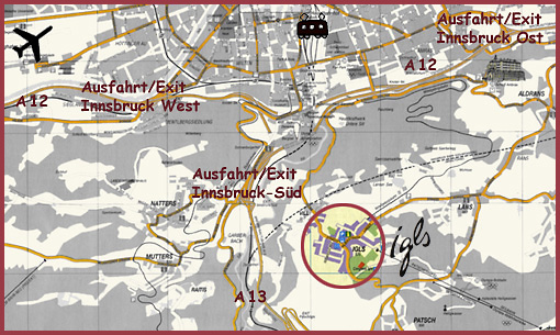how to find us - the map of Innsbruck